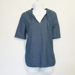 Kate Spade | Saturday Blue Chambray Hooded Top S